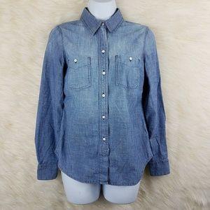 Lands end canvas chambray button up dress shirt 2